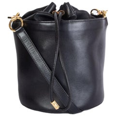 ALEXANDER WANG black leather ALPHA Bucket Bag