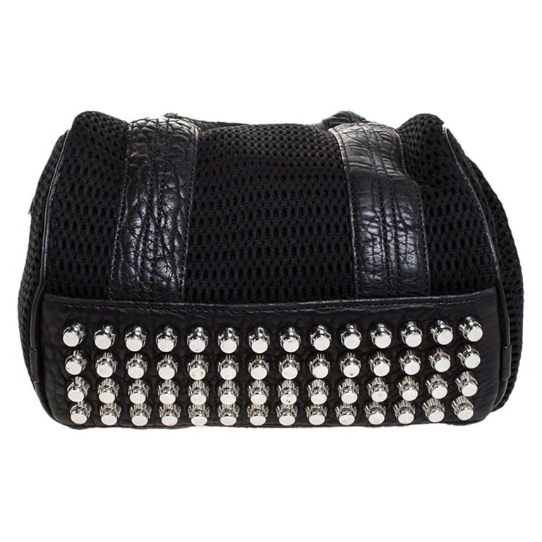 Alexander Wang Black Leather and Fabric Crochet Rocco Bag For Sale 1