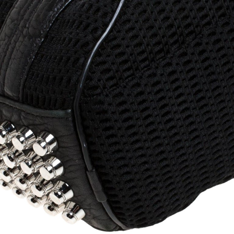 Alexander Wang Black Leather and Fabric Crochet Rocco Bag For Sale 2
