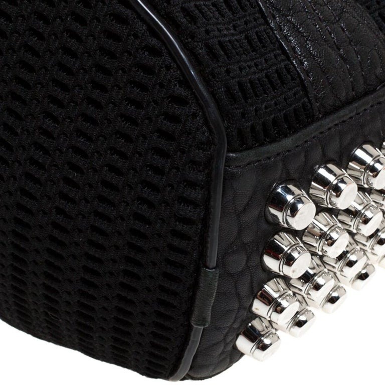 Alexander Wang Black Leather and Fabric Crochet Rocco Bag For Sale 3