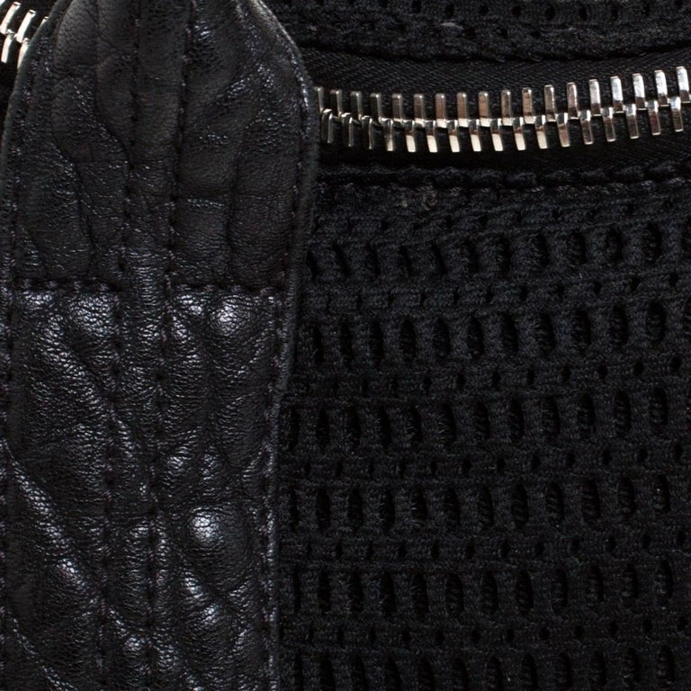 Alexander Wang Black Leather and Fabric Crochet Rocco Bag For Sale 4