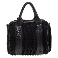 Alexander Wang Black Leather and Fabric Crochet Rocco Bag