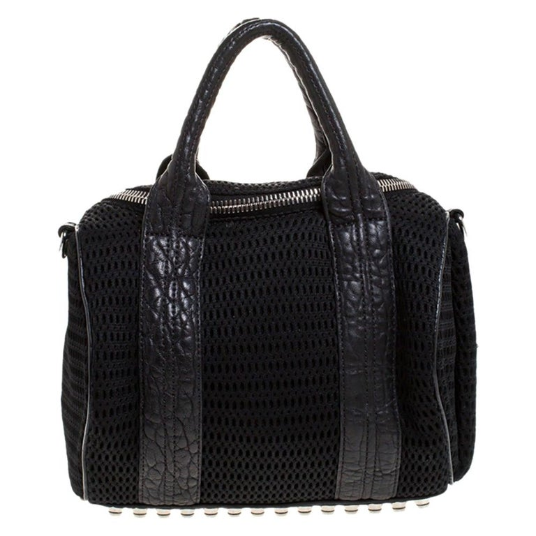Alexander Wang Black Leather and Fabric Crochet Rocco Bag For Sale