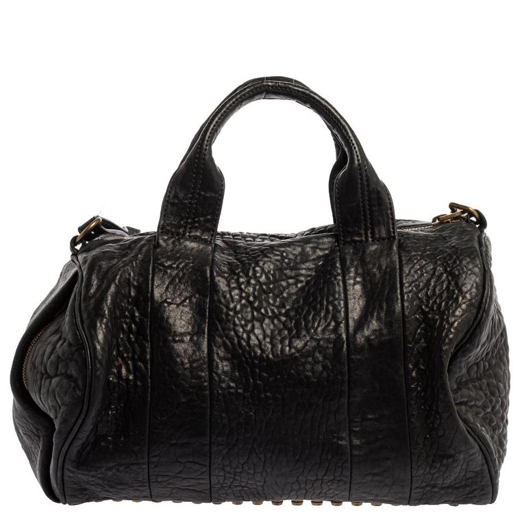 Alexander Wang Black Leather Rocco Duffle Bag In Good Condition For Sale In Dubai, Al Qouz 2