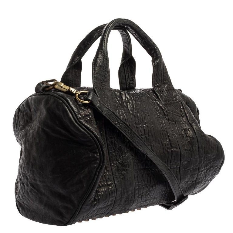 Women's Alexander Wang Black Leather Rocco Duffle Bag For Sale