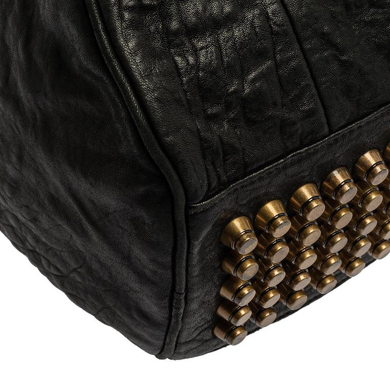 Alexander Wang Black Leather Rocco Duffle Bag For Sale 2