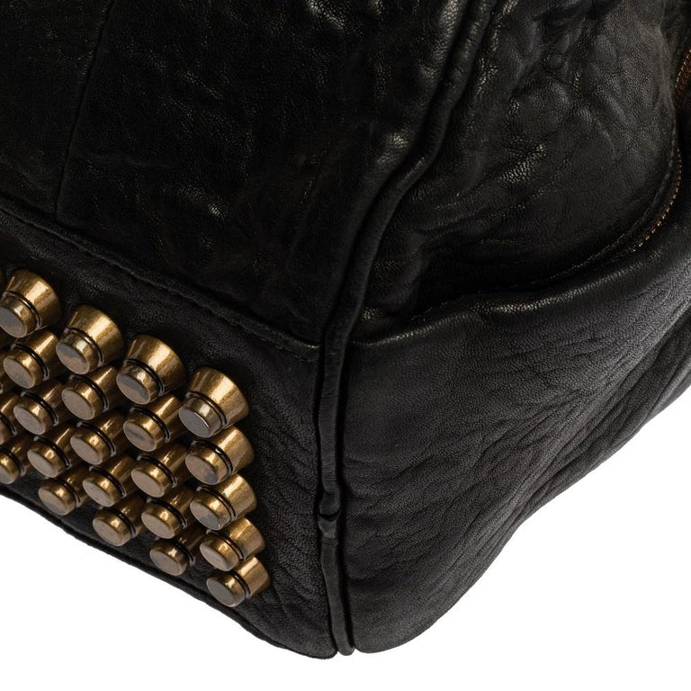 Alexander Wang Black Leather Rocco Duffle Bag For Sale 4