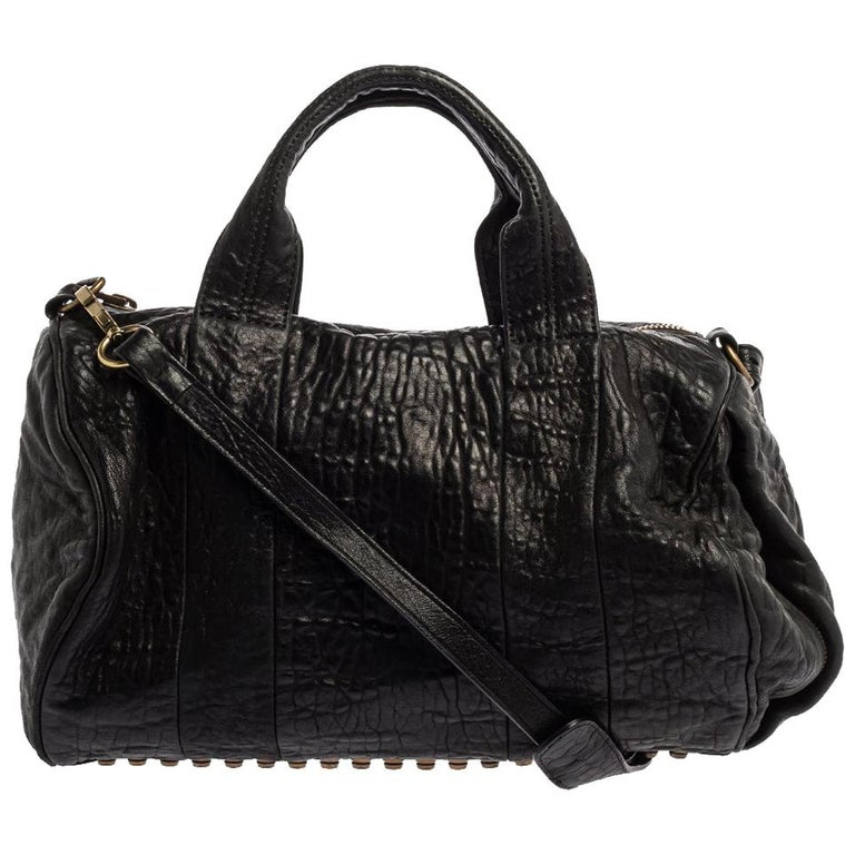 Alexander Wang Black Leather Rocco Duffle Bag For Sale