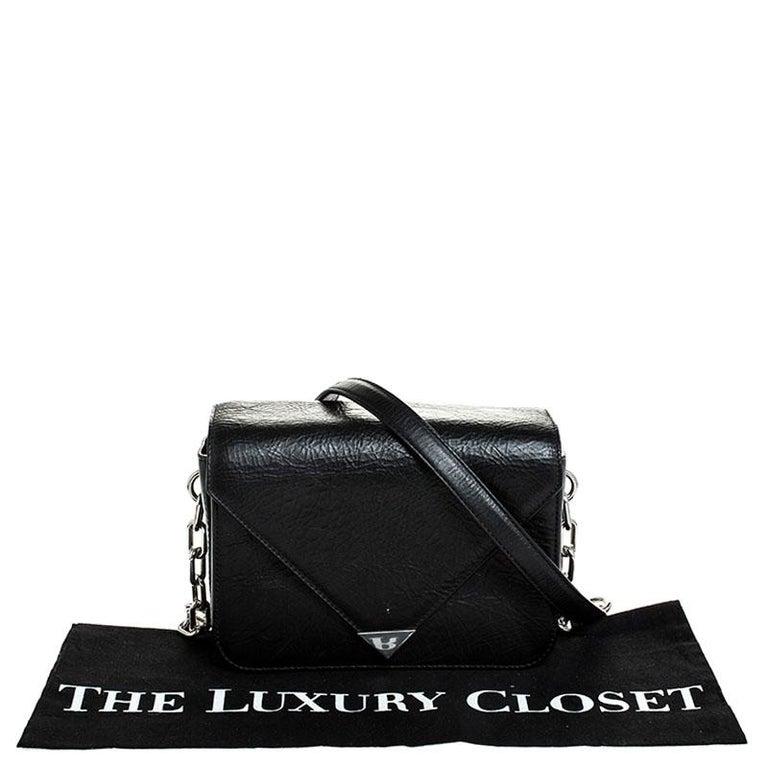 Alexander Wang Black Leather Small Prisma Envelope Crossbody Bag For Sale 6