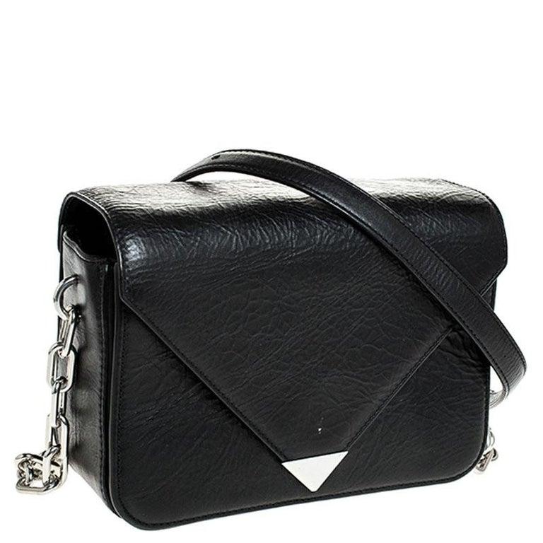 Alexander Wang Black Leather Small Prisma Envelope Crossbody Bag In Good Condition For Sale In Dubai, Al Qouz 2