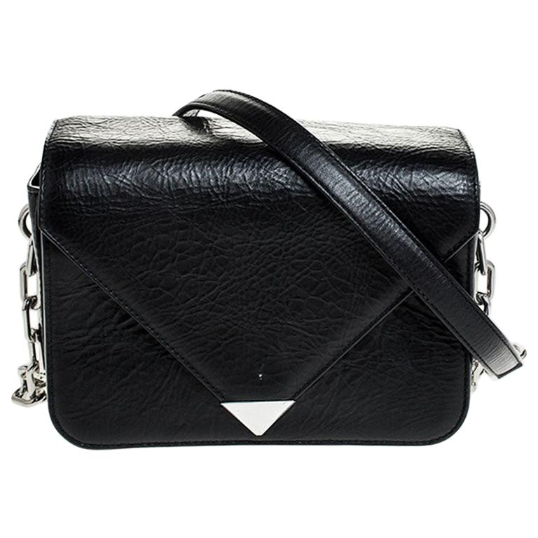 Alexander Wang Black Leather Small Prisma Envelope Crossbody Bag For Sale