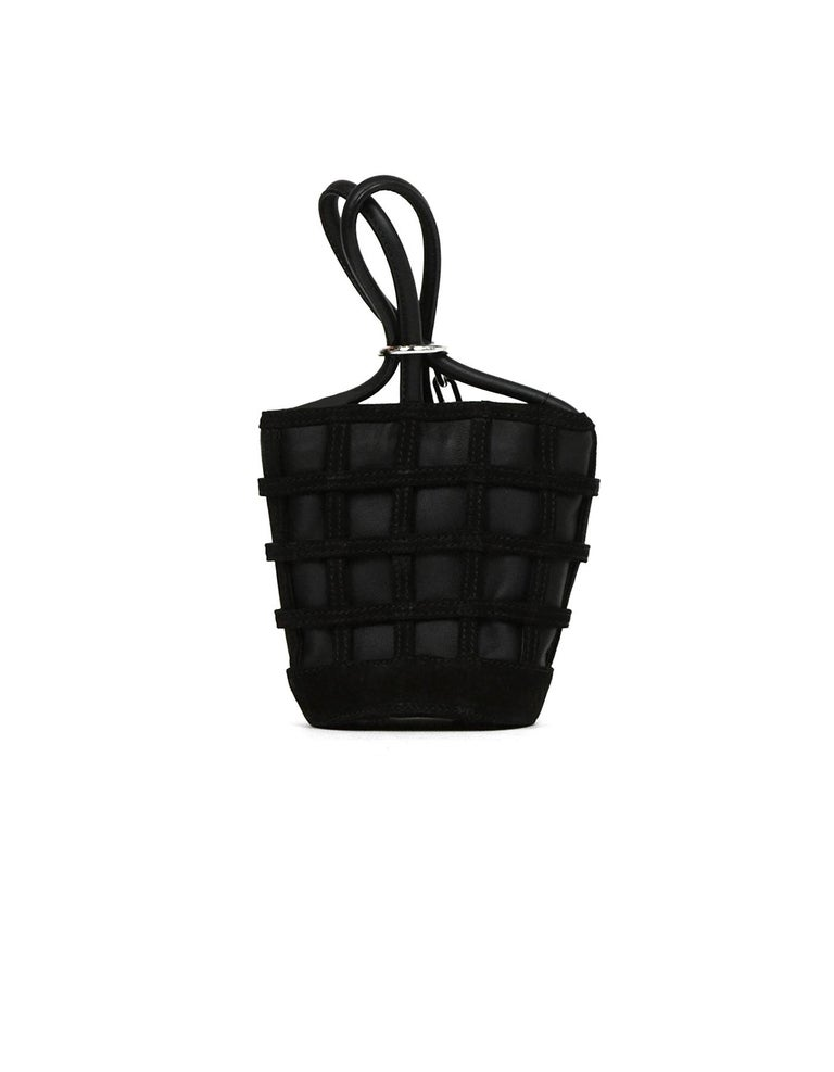 Alexander Wang Black Leather/Suede Woven ROXY Chain Bucket Bag In Excellent Condition For Sale In New York, NY