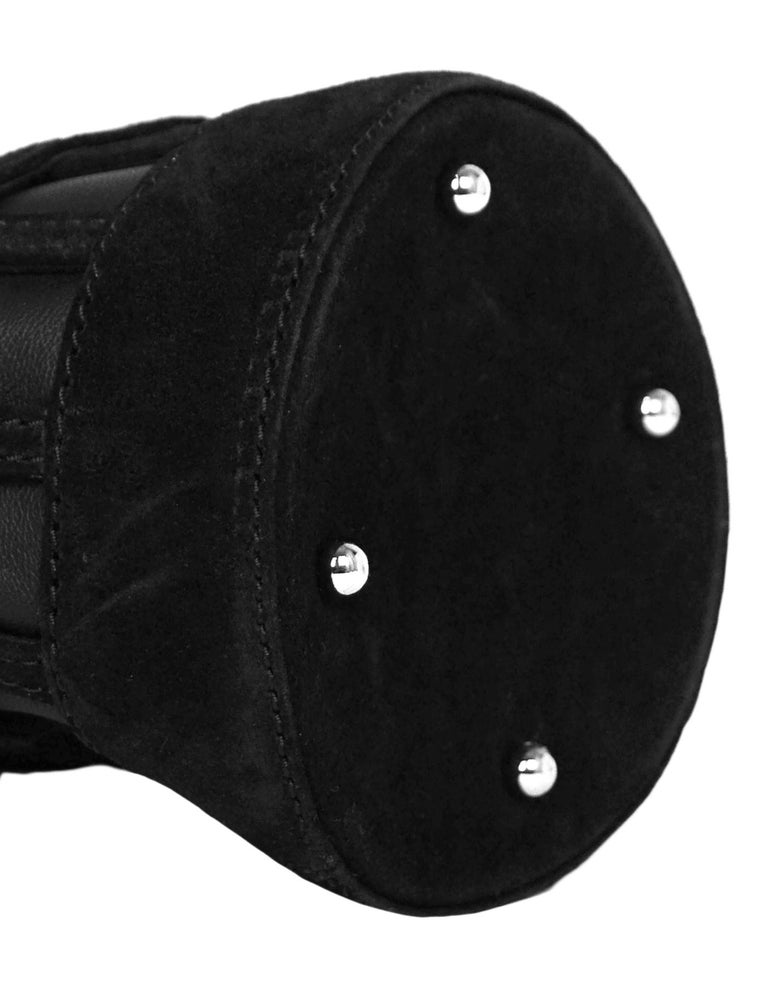 Women's Alexander Wang Black Leather/Suede Woven ROXY Chain Bucket Bag For Sale