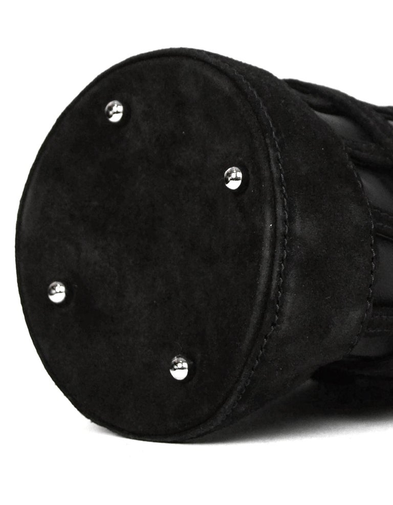 Alexander Wang Black Leather/Suede Woven ROXY Chain Bucket Bag For Sale 1