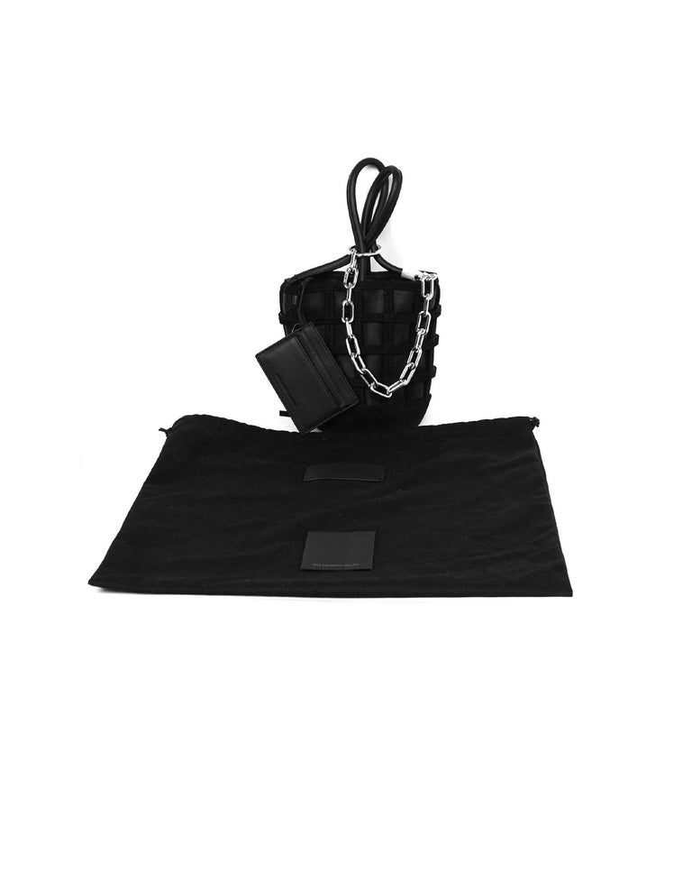 Alexander Wang Black Leather/Suede Woven ROXY Chain Bucket Bag For Sale 4