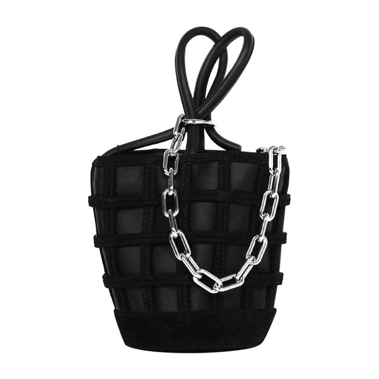Alexander Wang Black Leather/Suede Woven ROXY Chain Bucket Bag For Sale