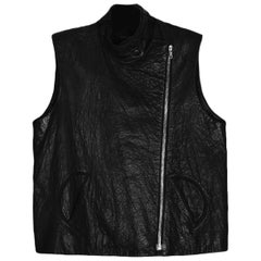 Alexander Wang Black Leather Zip Vest sz 2