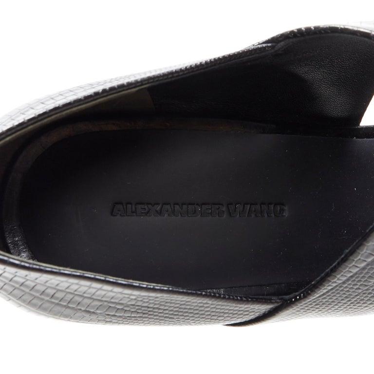 ALEXANDER WANG black mock lizard print cross strap cut out wedge sandal EU38 For Sale 5
