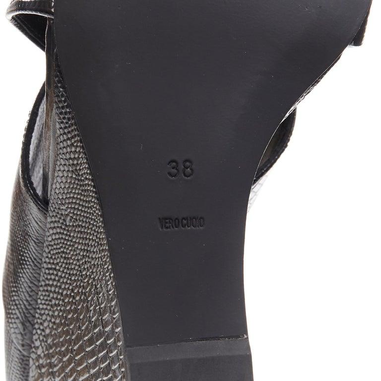 ALEXANDER WANG black mock lizard print cross strap cut out wedge sandal EU38 For Sale 6