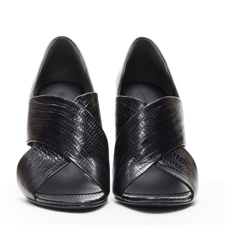 Black ALEXANDER WANG black mock lizard print cross strap cut out wedge sandal EU38 For Sale