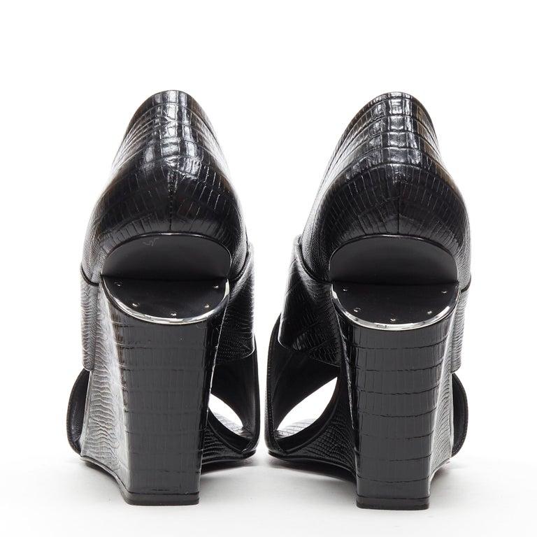 Women's ALEXANDER WANG black mock lizard print cross strap cut out wedge sandal EU38 For Sale