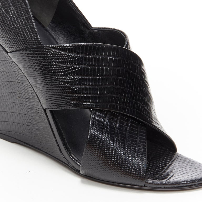 ALEXANDER WANG black mock lizard print cross strap cut out wedge sandal EU38 For Sale 3