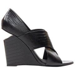 ALEXANDER WANG black mock lizard print cross strap cut out wedge sandal EU38