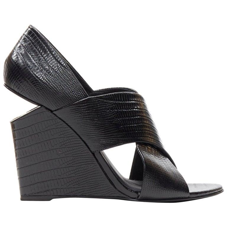 ALEXANDER WANG black mock lizard print cross strap cut out wedge sandal EU38 For Sale