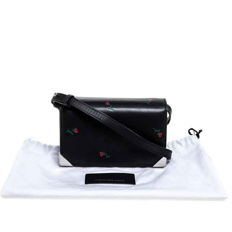 Alexander Wang Black Rose Embossed Leather Prisma Biker Shoulder Bag For Sale 7