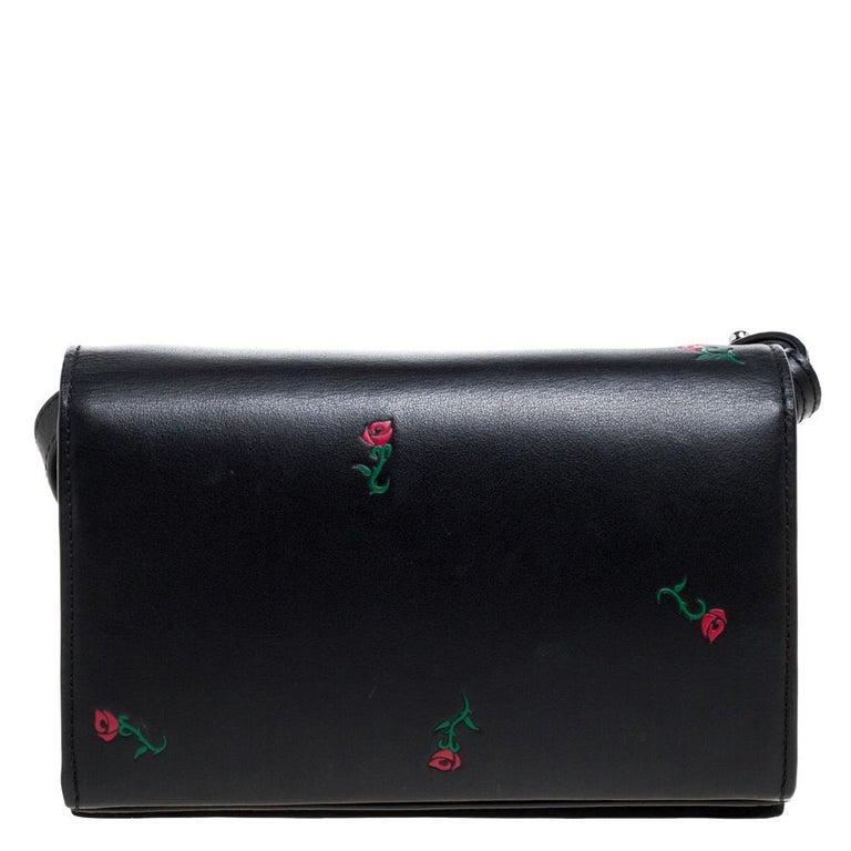 Alexander Wang Black Rose Embossed Leather Prisma Biker Shoulder Bag In Good Condition For Sale In Dubai, Al Qouz 2