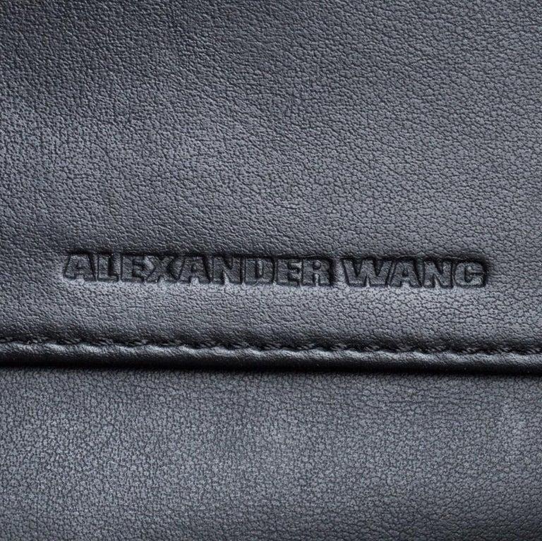 Alexander Wang Black Rose Embossed Leather Prisma Biker Shoulder Bag For Sale 3