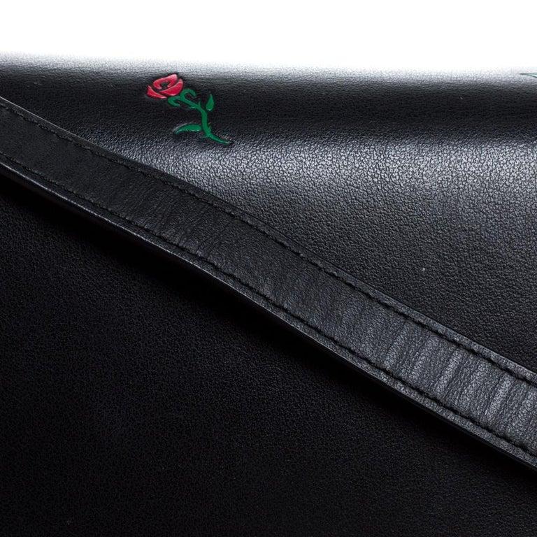 Alexander Wang Black Rose Embossed Leather Prisma Biker Shoulder Bag For Sale 4