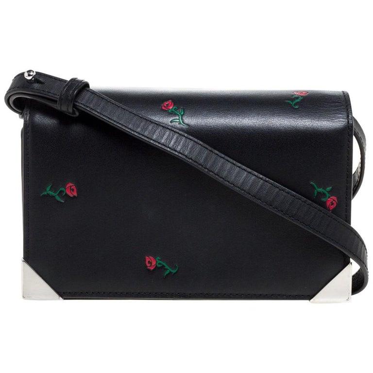 Alexander Wang Black Rose Embossed Leather Prisma Biker Shoulder Bag For Sale