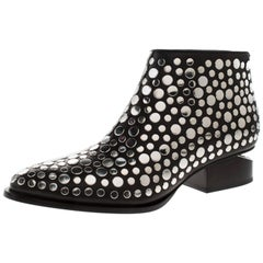 Alexander Wang Black Studded Leather Gabi Ankle Boots Size 36.5