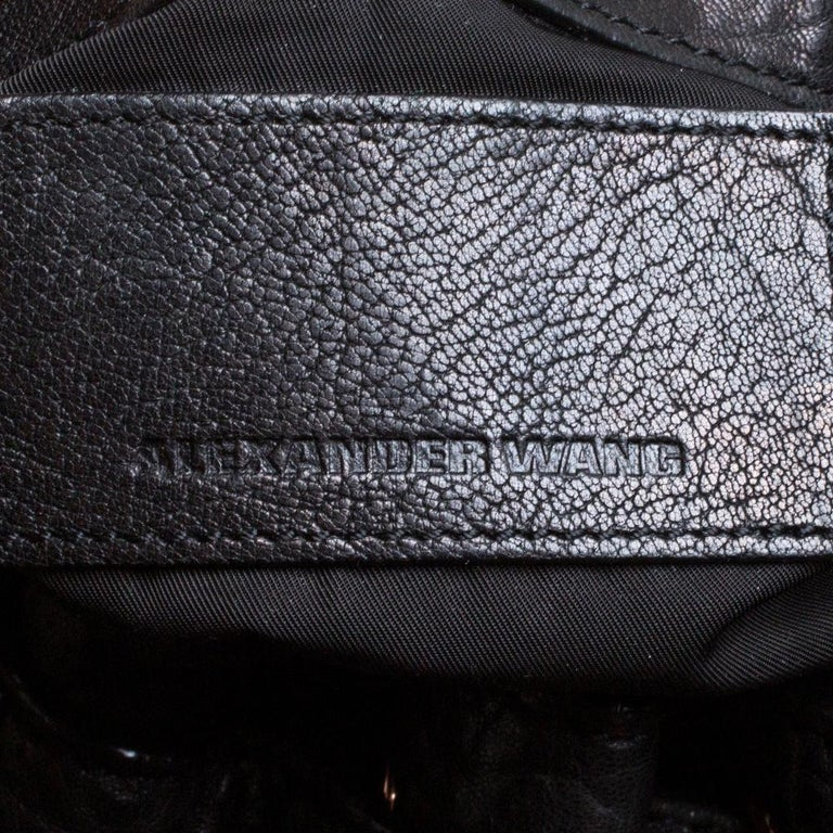 Alexander Wang Black Textured Leather Diego Bucket Bag For Sale 6