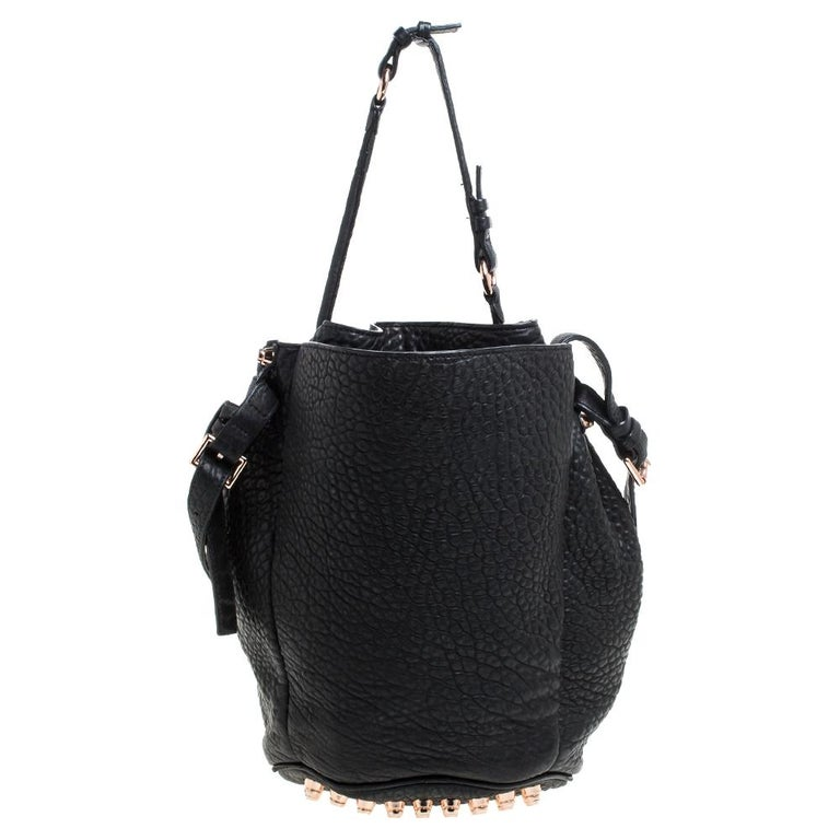 Women's Alexander Wang Black Textured Leather Diego Bucket Bag For Sale