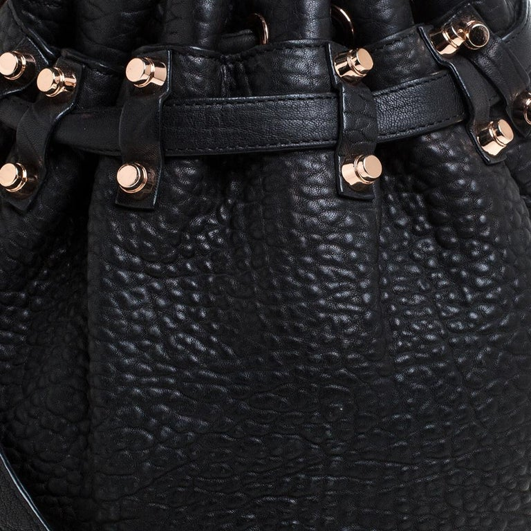 Alexander Wang Black Textured Leather Diego Bucket Bag For Sale 1