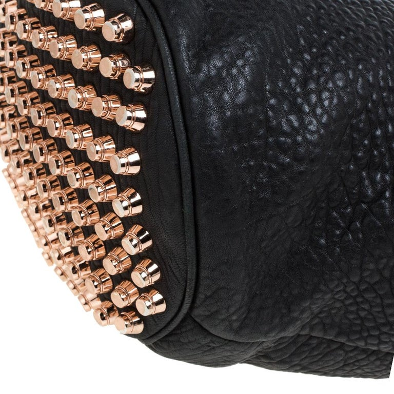 Alexander Wang Black Textured Leather Diego Bucket Bag For Sale 4