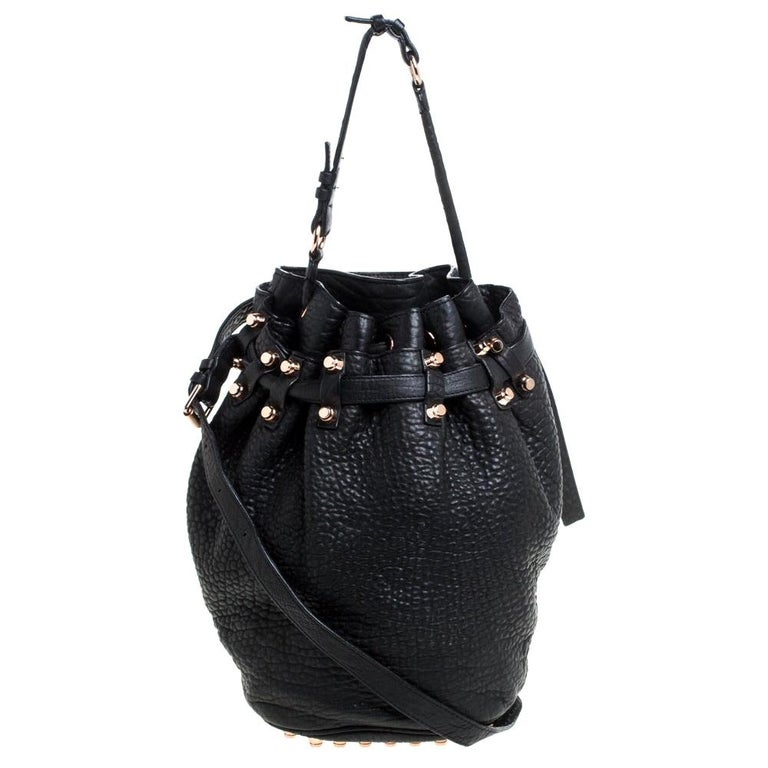 Alexander Wang Black Textured Leather Diego Bucket Bag For Sale