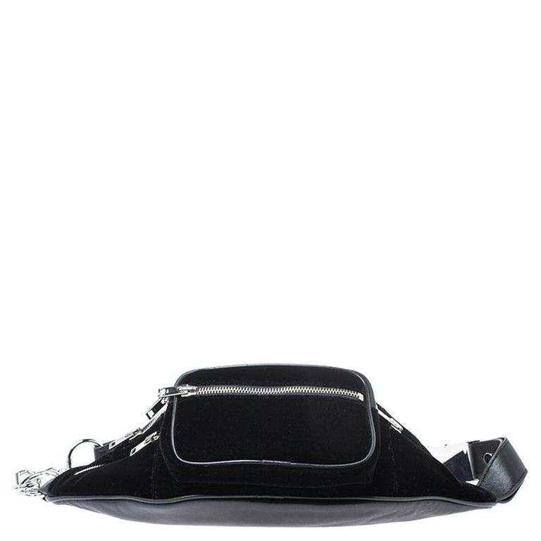 Alexander Wang Black Velvet Attica Belt Bag In New Condition For Sale In Dubai, Al Qouz 2