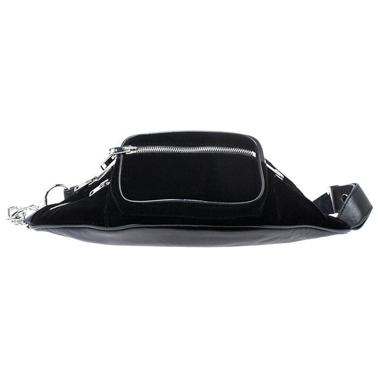 Alexander Wang Black Velvet Attica Belt Bag For Sale