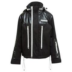 Alexander Wang Black & White Zip-Up Hooded Jacket