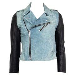 ALEXANDER WANG blue & black DENIM PRINT LEATHER BIKER Jacket 2 XXS