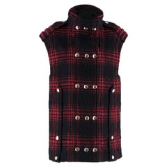 Alexander Wang Buffalo Plaid Brushed Wool Vest UK 4