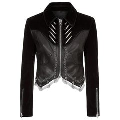 Alexander Wang Cropped Suede and Leather Jacket
