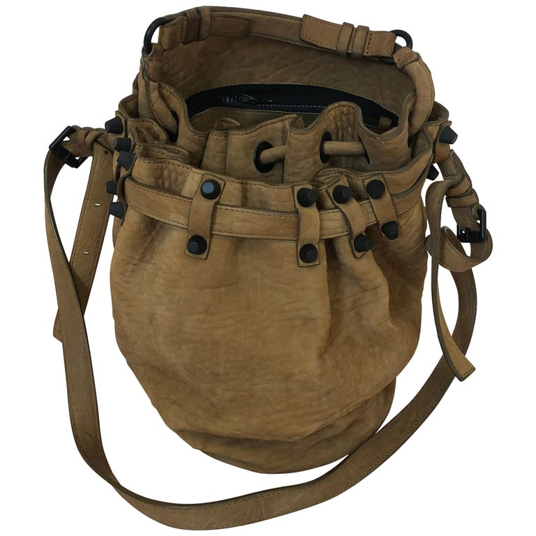 """Alexander Wang """"Diego"""" Suede Studded Bucket Bag in Taupe/Camel w/Dust Bag For Sale"""