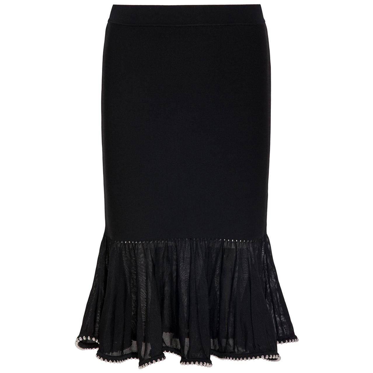 Alexander Wang Embellished Lace Trimmed Stretch Knit Mini Skirt