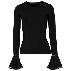 Alexander Wang Embellished Lace Trimmed Stretch Knit Sweater