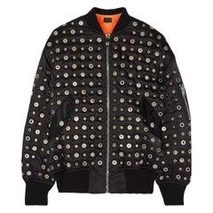 Alexander Wang Leather Trimmed Eyelet Embellished Bomber Jacket