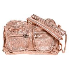 Alexander Wang Metallic Rose Gold Textured Leather Brenda Chain Shoulder Bag